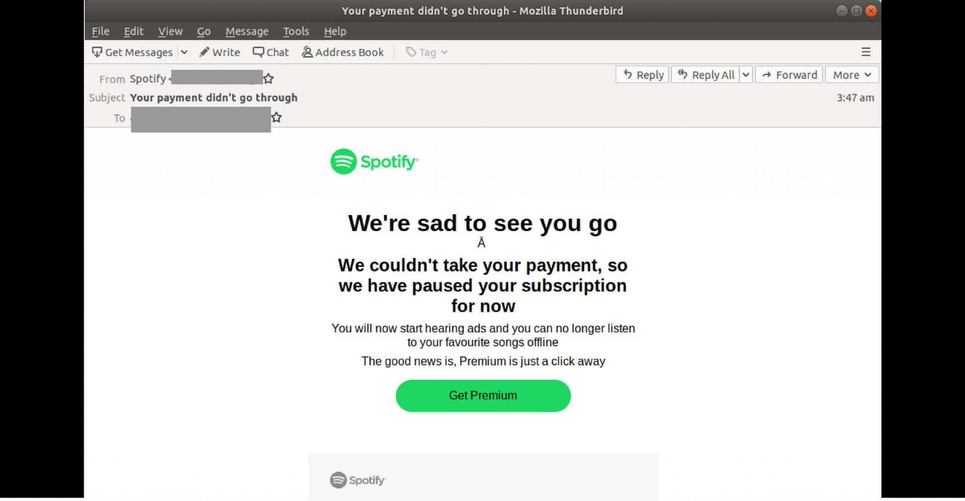 Spotify Phishing Attack Attribution link: https://latesthackingnews.com/2019/12/09/the-spotify-phishing-attack-that-tricks-users-through-fake-failed-payment-notices/