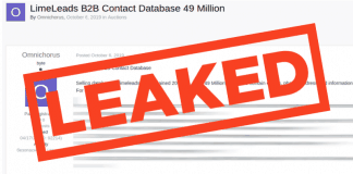 LimeLeads Database Containing 49 Million User Records Setup For Sale on Dark Forum