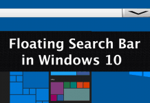 Enable Floating Search Bar In Windows 10