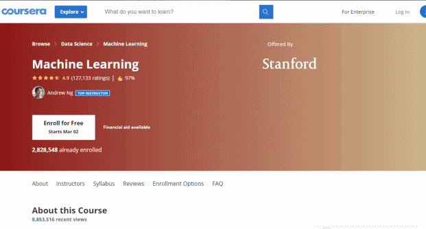 Machine Learning By Stanford University