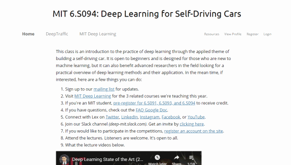 Deep Learning And Self Driving Cars By MIT