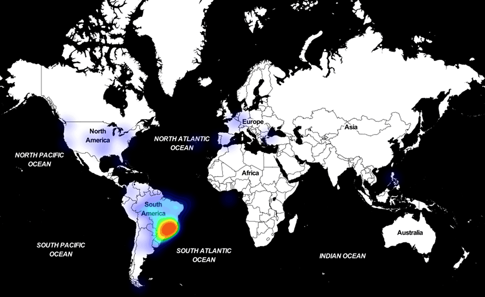 Astaroth malware attcking heatmap