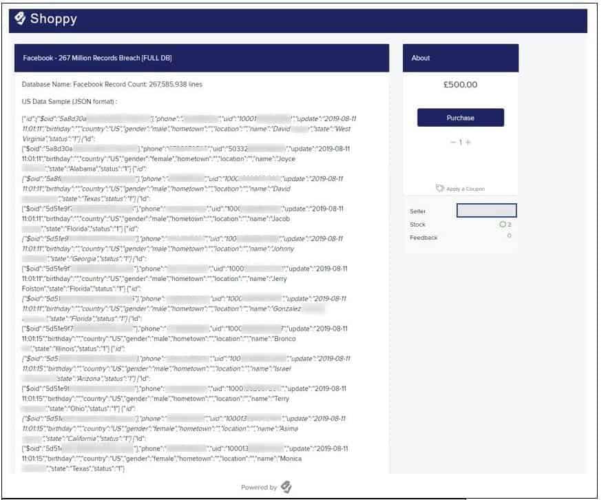 Database setup for sale (database redacted)