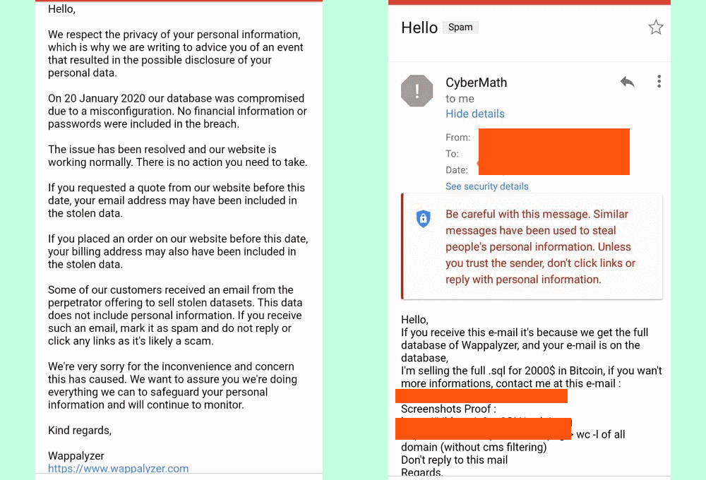 Emails from both Wappalyzer and the hacker to customers