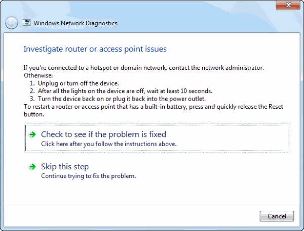 Run Windows Internet Diagnostic Tool
