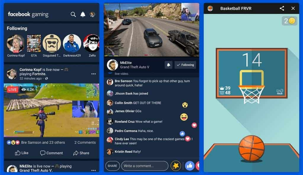 Screenshots of Facebook Gaming App