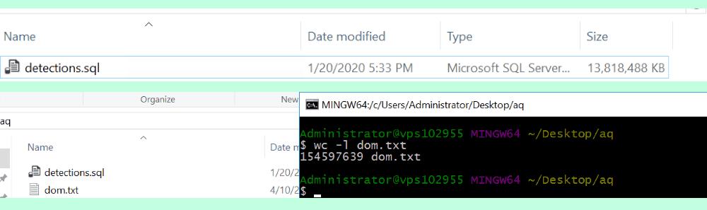 Snippet of stolen database
