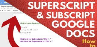 Subscript & Superscript in Google Docs
