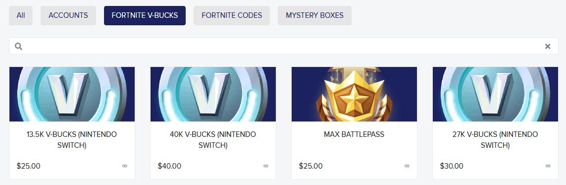 Ads for selling V-Bucks