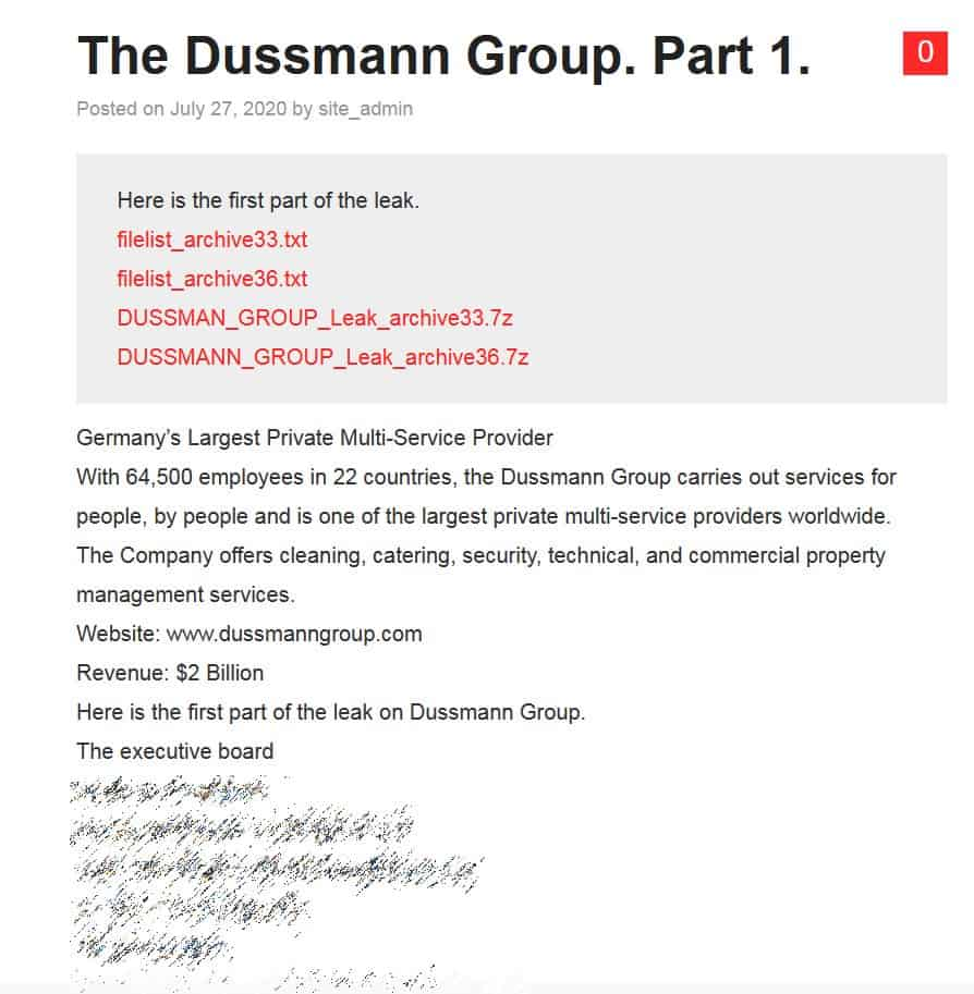Business giant Dussmann Group's data leaked after ransomware attack