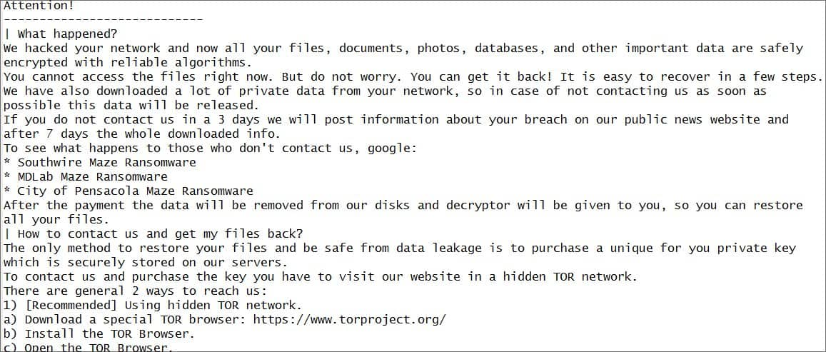 Partial Maze ransomware note