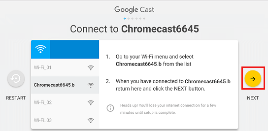 Chromecast a Wifi