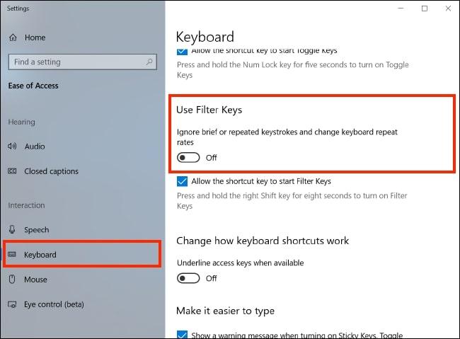 Filter keys