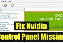 Fix Nvidia Control panel missing errorr
