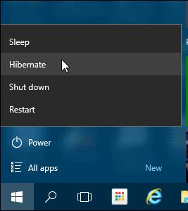 Hibernation Mode in Windows 10