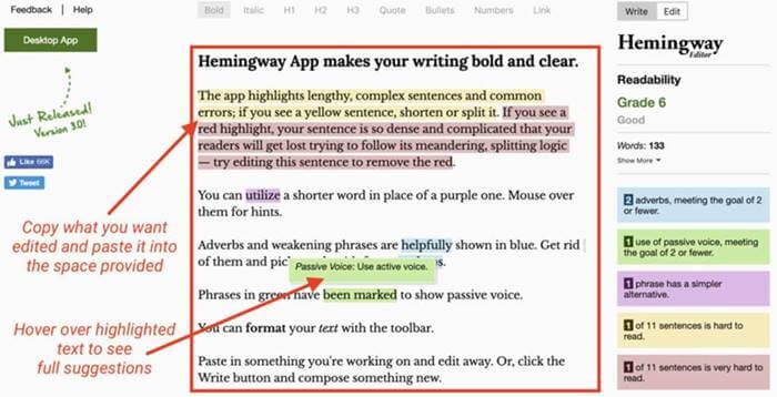 Hemingway App Editor