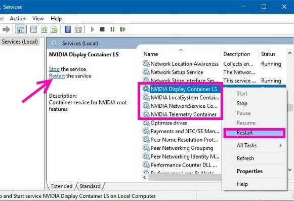 Restart nvidia services