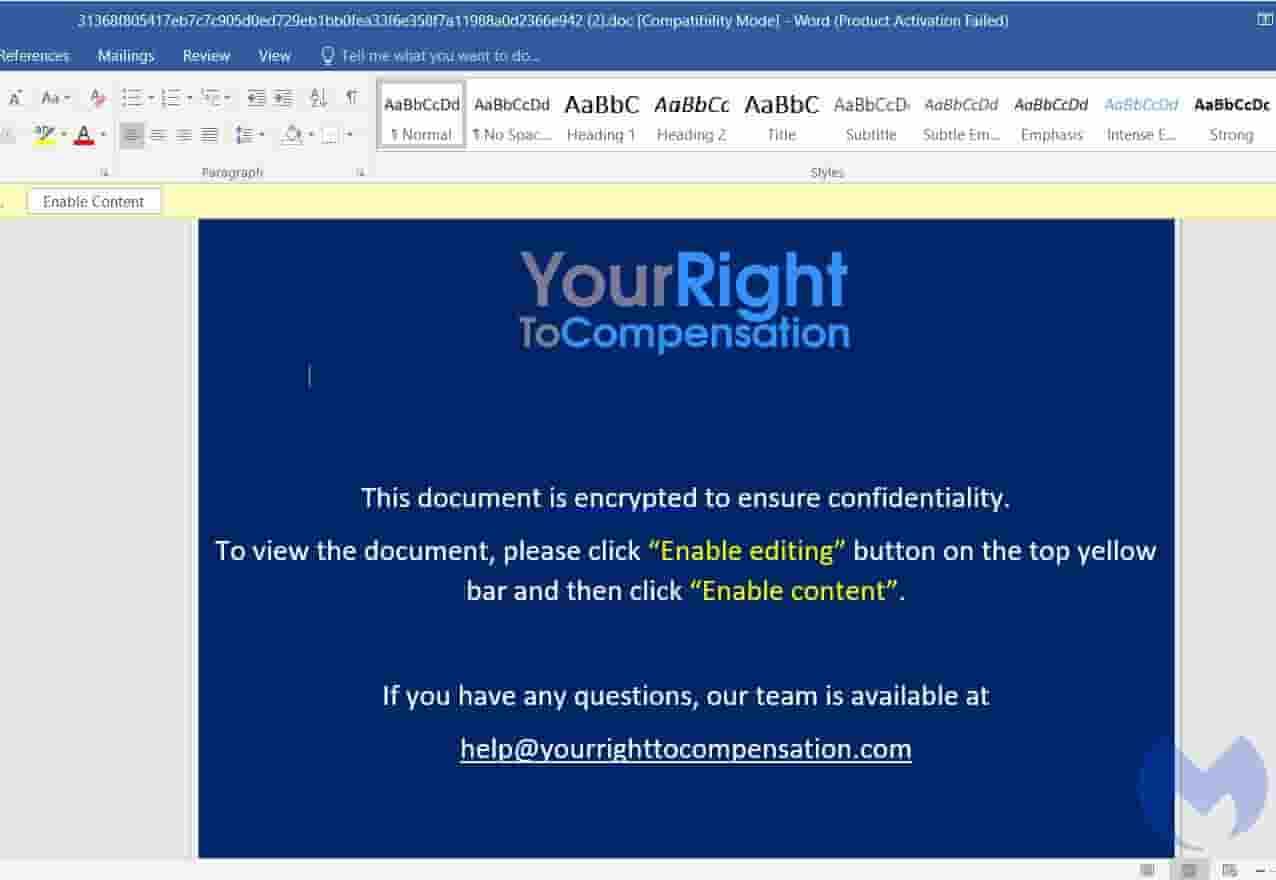 Phishing email sample from Malwarebytes