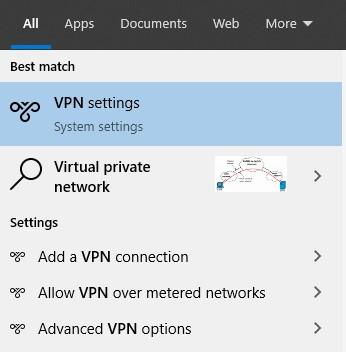 abrir la configuración de VPN