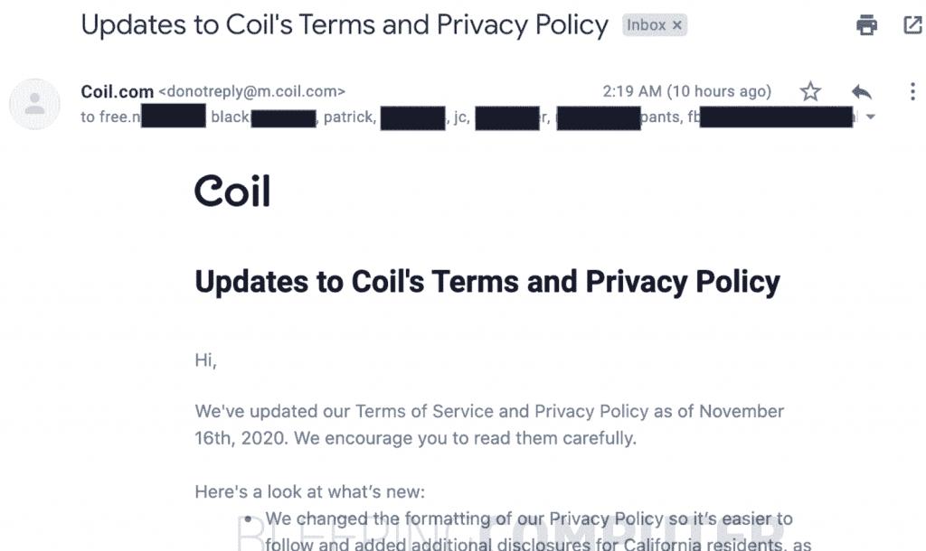 Coil email addresses leak