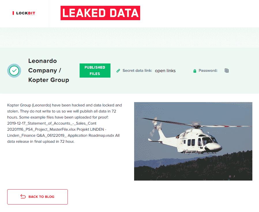 Kopter ransom page in LockBit site