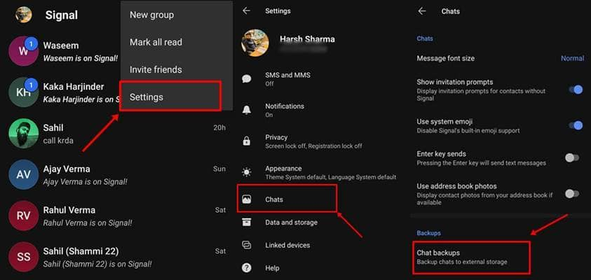 Copia de seguridad y restauración de chats de señal en Android