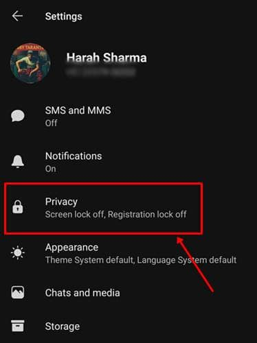 Navigate to the Privacy section