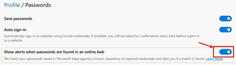Show alerts when passwords are found in an online leak