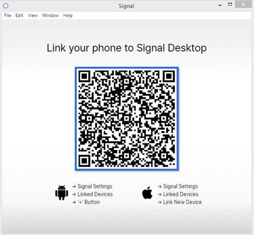 QR code, which should be scanned by your Signal
