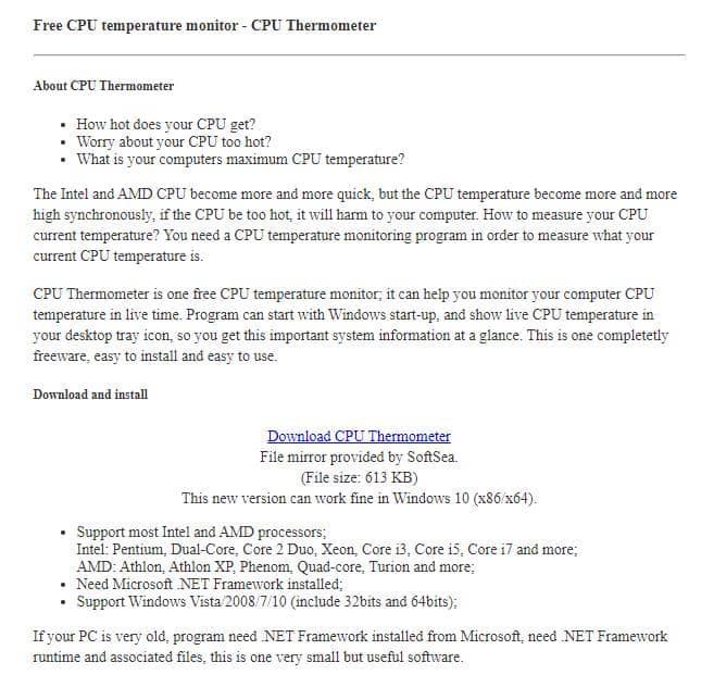 Termómetro de CPU