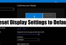 Reset display settings to default