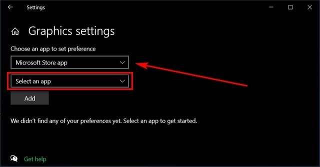 Select Microsoft store app
