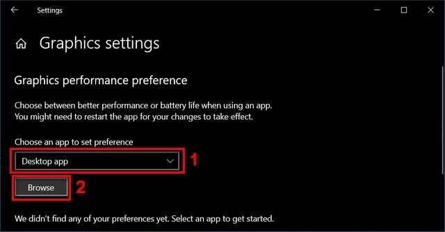 Select desktop app