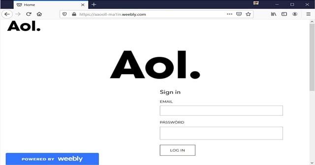 Aol phishing landing page
