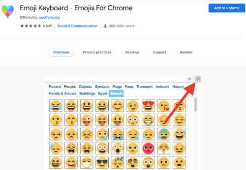 Emoji Keyboard Chrome plugin