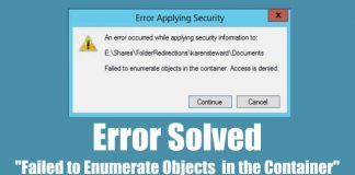"""Fix """"failed to enumerate objects in the container"""" error"""