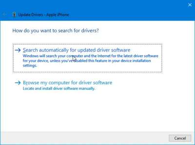 Instal Driver Iphone melalui Device Manager