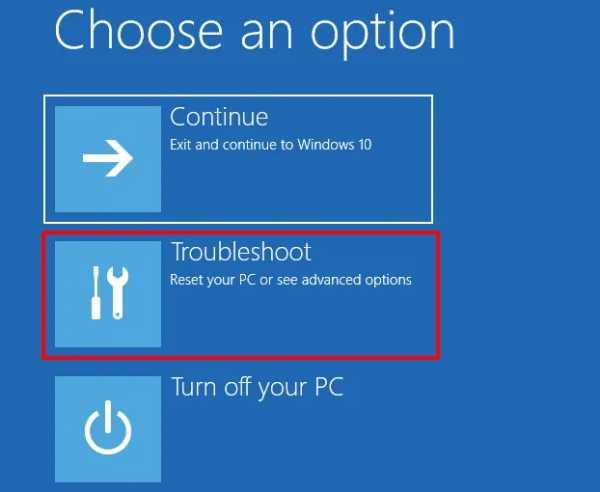 Select troubleshoot