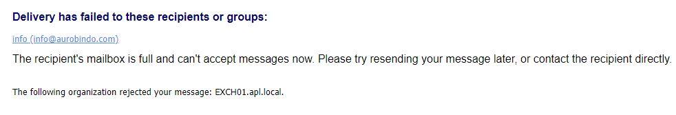Inquiry email sent to Aurobindo Pharma seeking acknowledgement return this response.