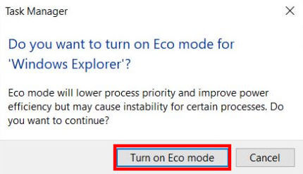 Click Turn on Eco Mode to enable it.