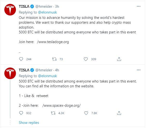 Cryptocurrency Scam Impersonating Tesla Flourishes Under Elon Musk's Dogecoin Tweet