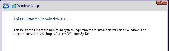 PC cant run Win11