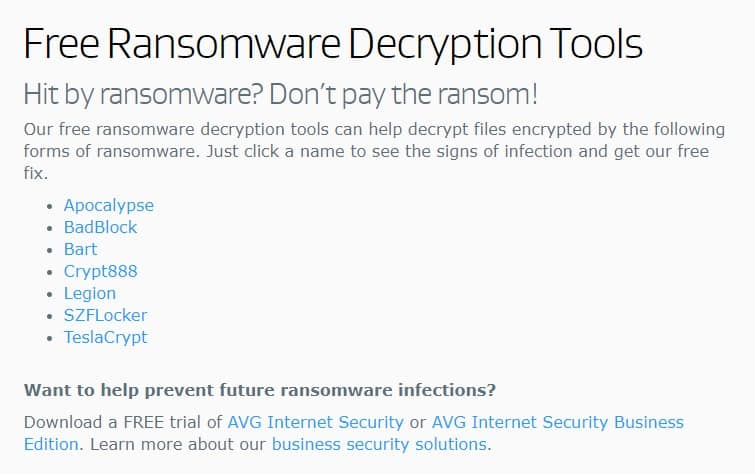 AVG Ransomware Decryption Tools