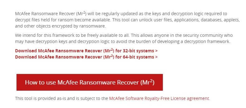 McAfee Ransomware Recover