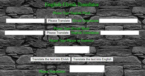 English-Elvish Translator--Angelfire