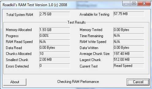 Roadkil's RAM Test