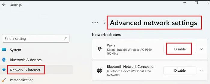 Advanced network settings.