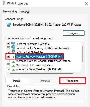 Internet Protocol Version 4 (TCP/IPv4).