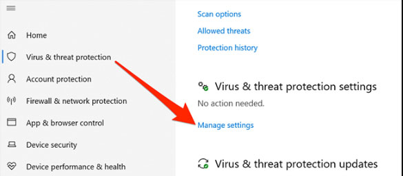 manage setting under the virsu and threeat protection