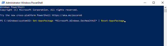 use powershell to reset your Windows security in Windows 11 PC